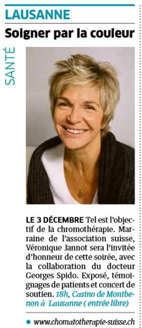 Véronique Jannot - Marraine de l'Association de Chromatothérapie Suisse ®